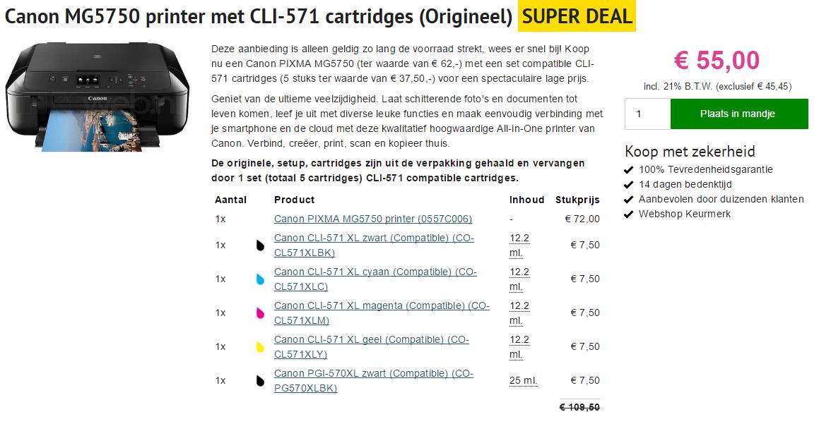 Printeractie van Inktweb.nl