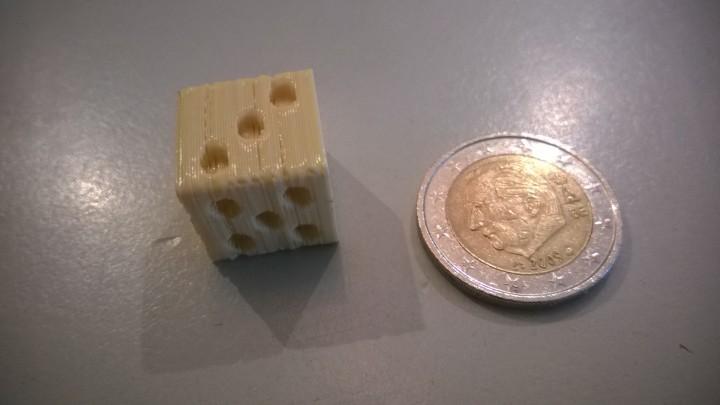 Een voorbeeld van een te hoge print temperatuur.