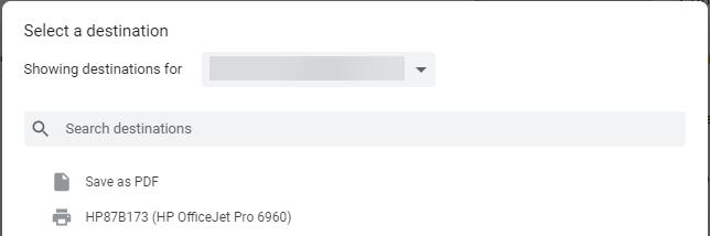 Bestemming menu voor printer in Chrome OS