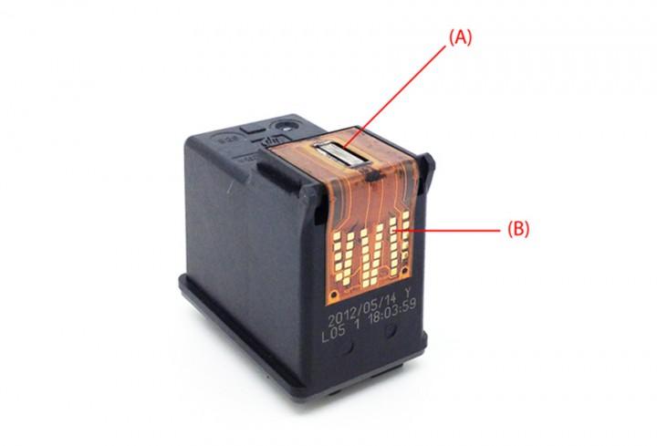 Een HP cartridge met een externe printkop (A = De printkop, B = Contacten)