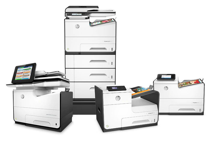 Afbeelding met verschillende HP PageWide printers.