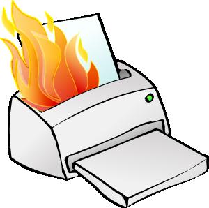Installeer geen cartridges als er vlammen uit uw printer komen.