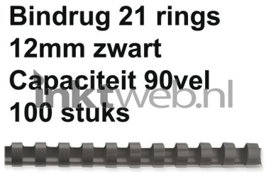 Fellowes Bindrug 12mm 21rings A4 100 stuks zwart A7-535751