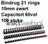 Fellowes Apex bindrug 10mm 21rings A4 100 stuks zwart
