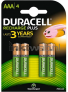 Duracell AAA Rechargeable plus, 750 mAh