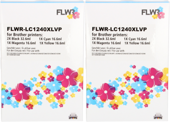FLWR Brother LC-1240XL Multipack (2 sets) zwart en kleur RE-LC1240XLVPX2