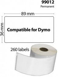 FLWR Dymo  99012 10-Pack 36 mm x 89 mm wit FLWR-99012-10