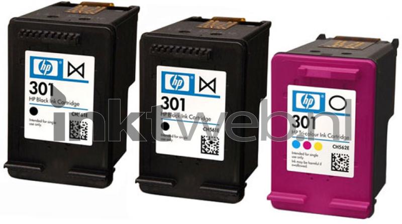 HP 301 3-Pack zwart en kleur (Origineel) - Inktweb.nl