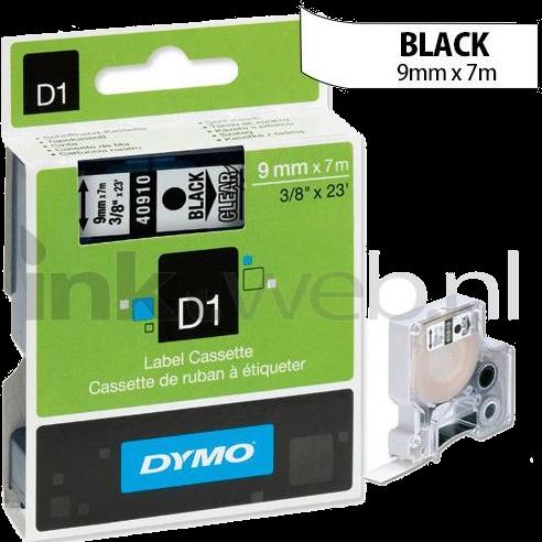 Dymo D1 zwart op transparant 9mm zwart