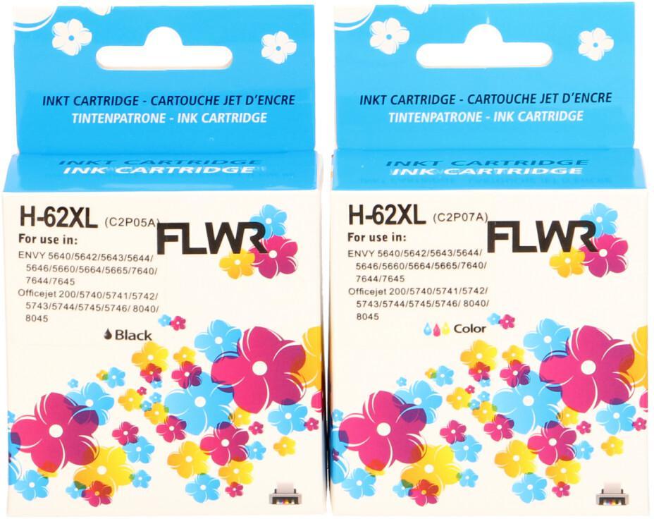 FLWR HP 62XL 2-pack zwart en kleur