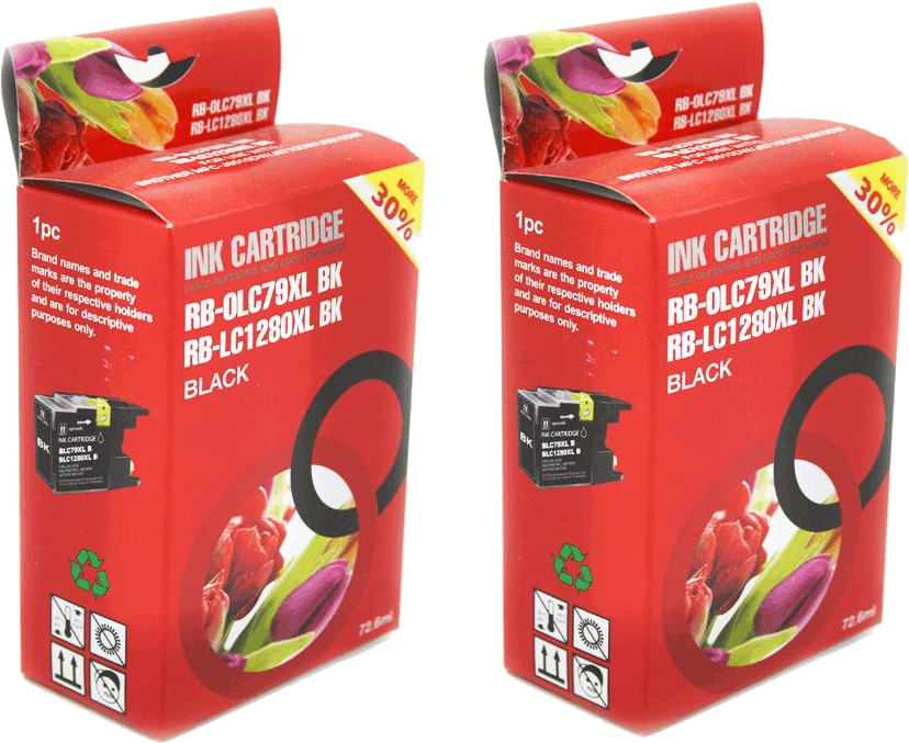 Brother LC-1280XL 2-pack zwart