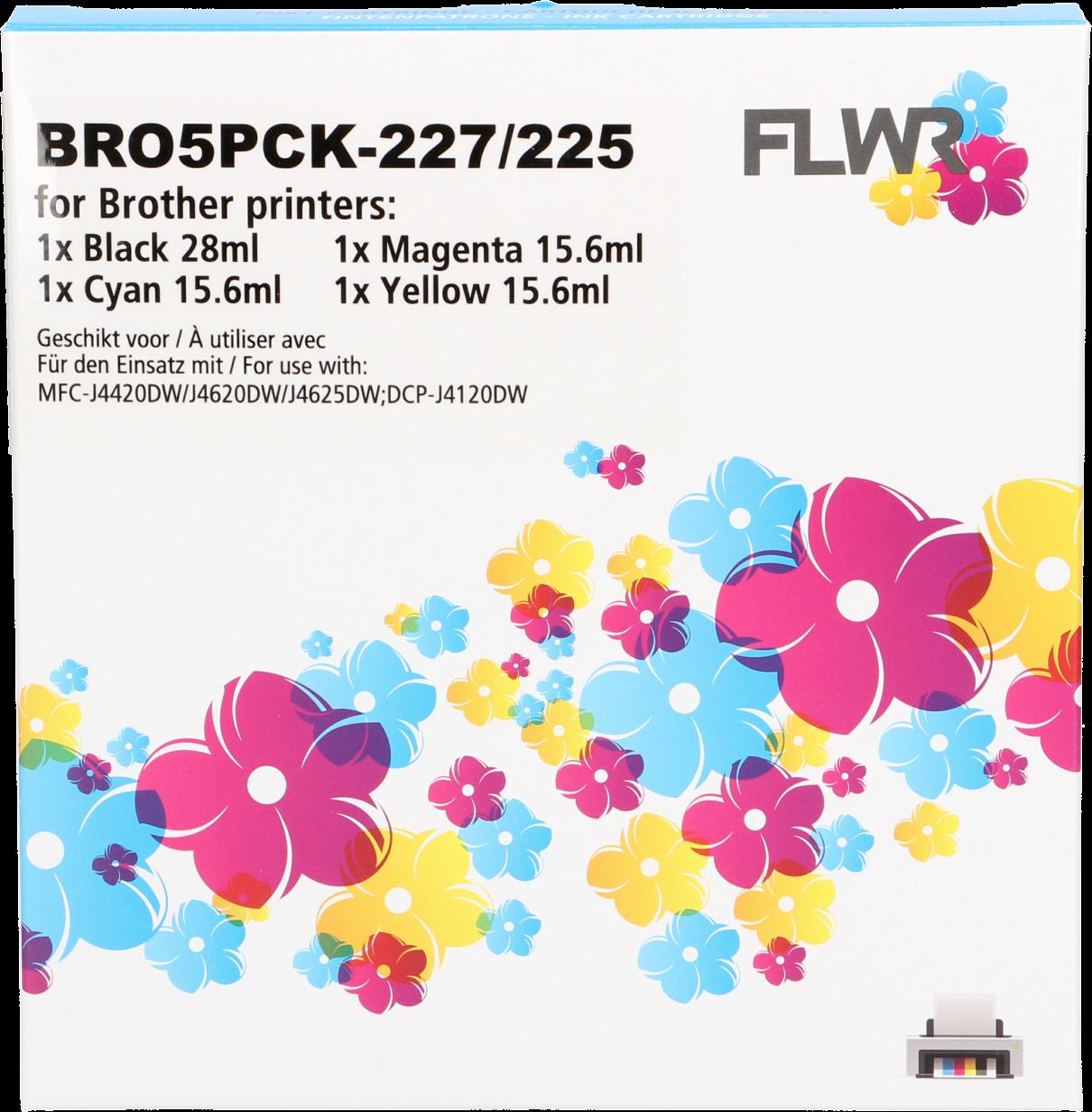 FLWR Brother LC-227/LC-225 zwart en kleur