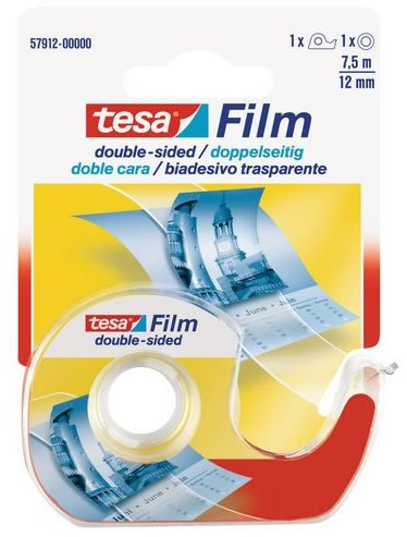 Tesa Plakband Film 7,5m x 12mm 2-zijdig + dispencer