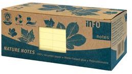 infoNotes Sticky Notes 75x75mm recycled 12-pack geel