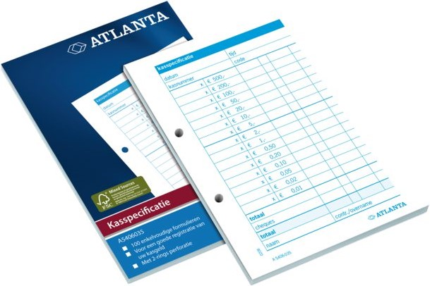 Atlanta kasspecificatie A6 100 vel