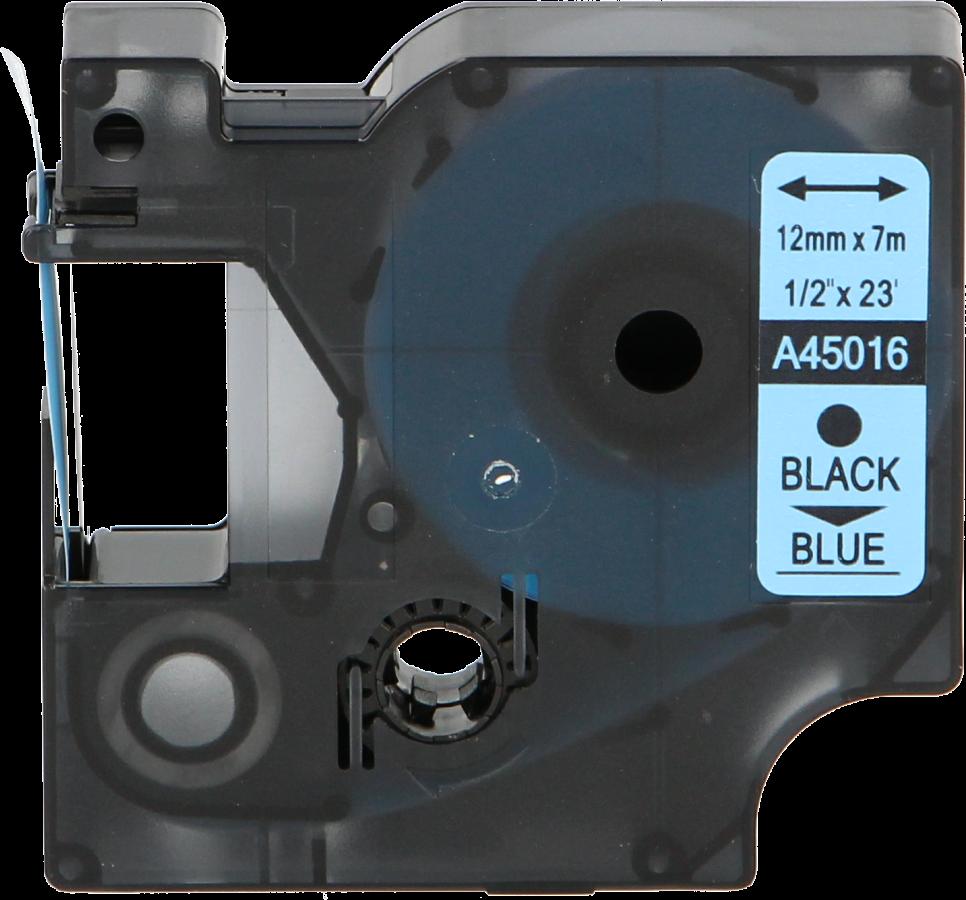FLWR Dymo 45016 zwart op blauw 12mm