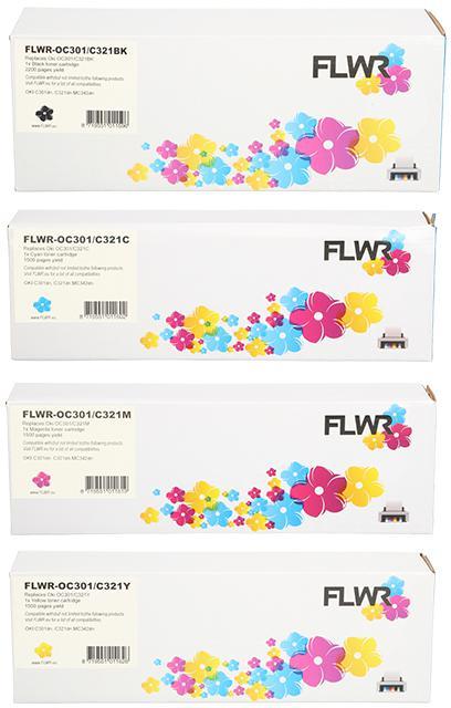 FLWR Oki C301 / C321 zwart en kleur