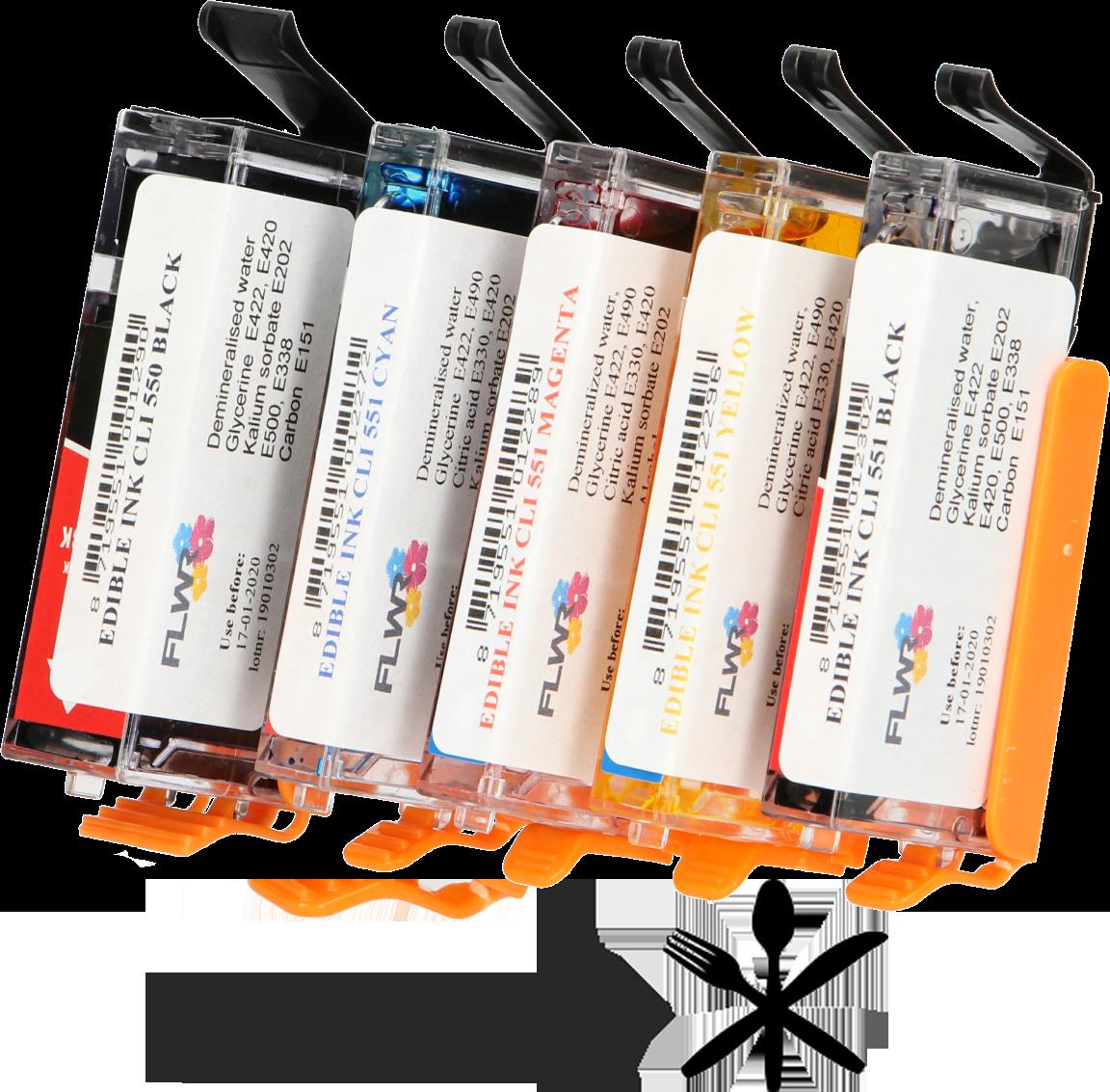 FLWR Eetbaar PGI-550 / CLI-551 Multipack zwart en kleur