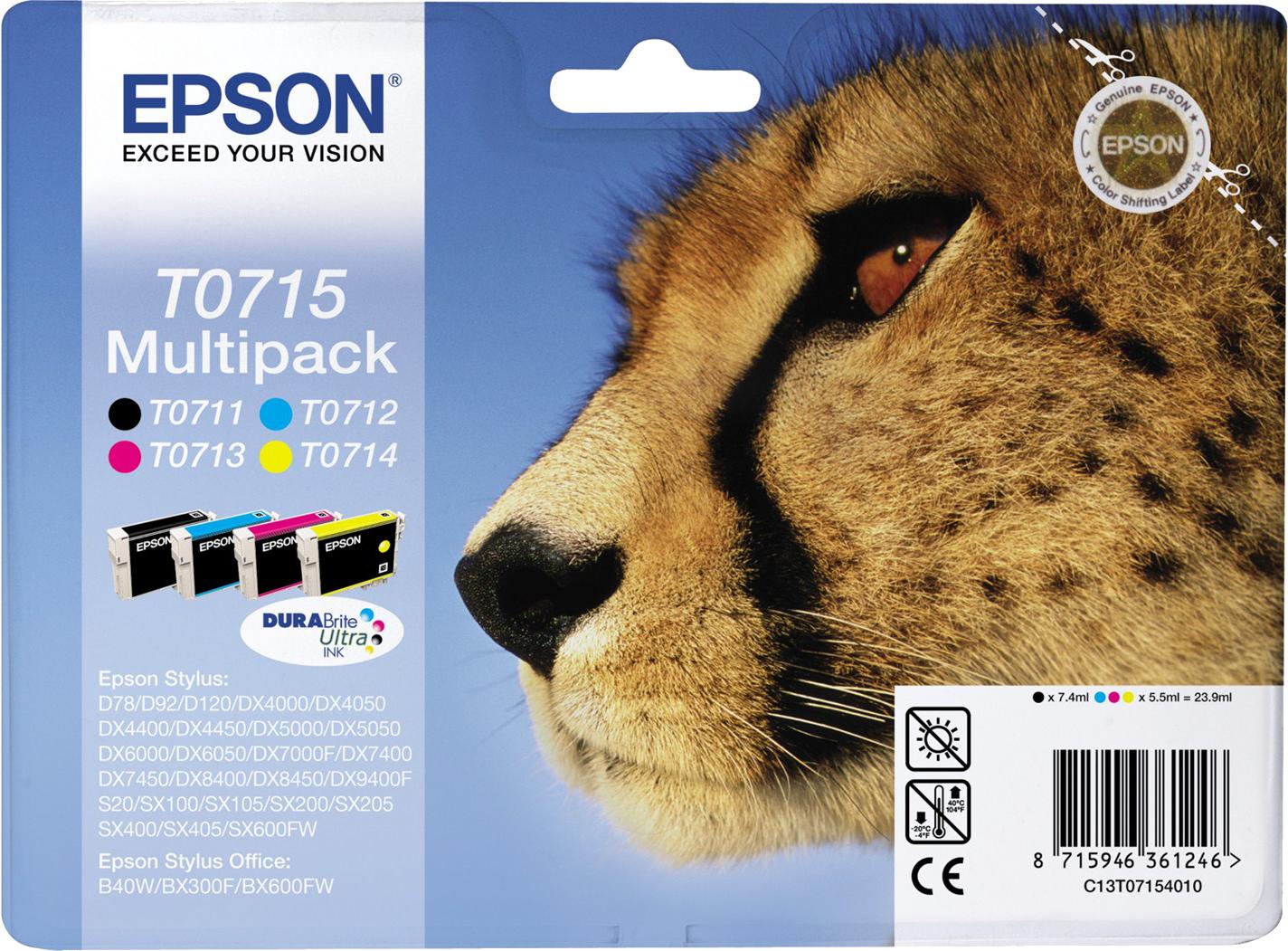 Epson T0715 multipack zwart en kleur