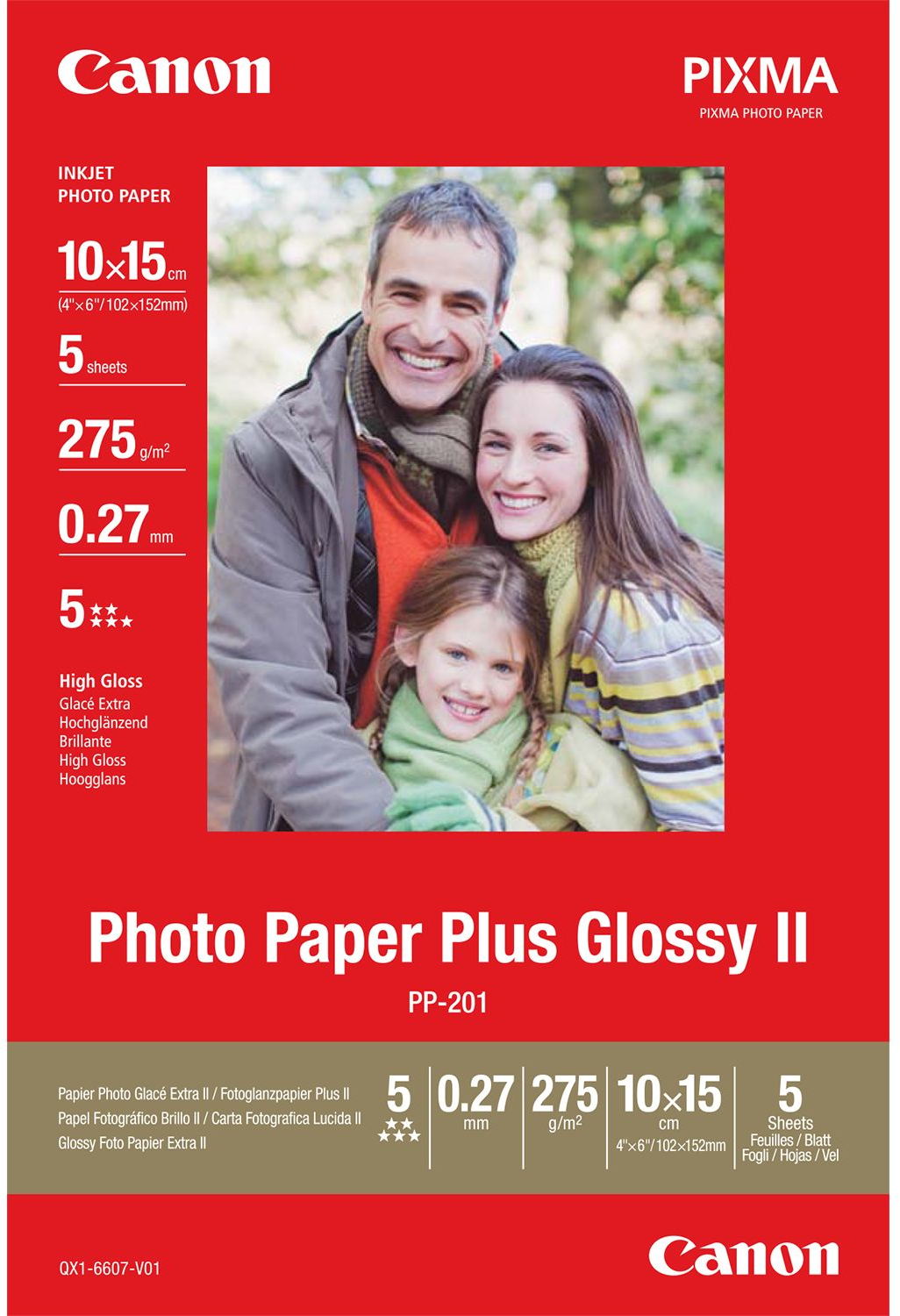 Canon PP-201 10 x 15 Photo Paper Plus Glossy II wit