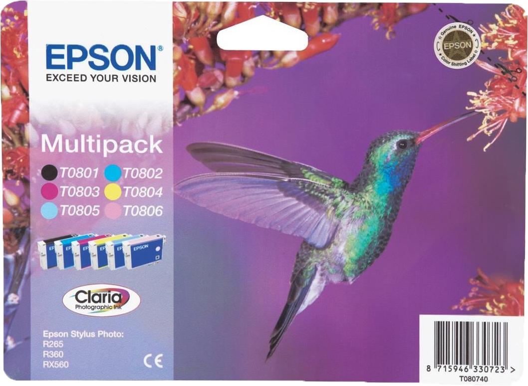 Epson T0807 multipack zwart en kleur