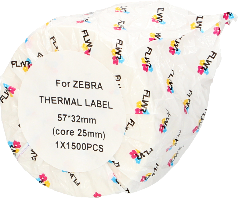 FLWR Zebra  etikettering 32 mm x 57 mm  wit