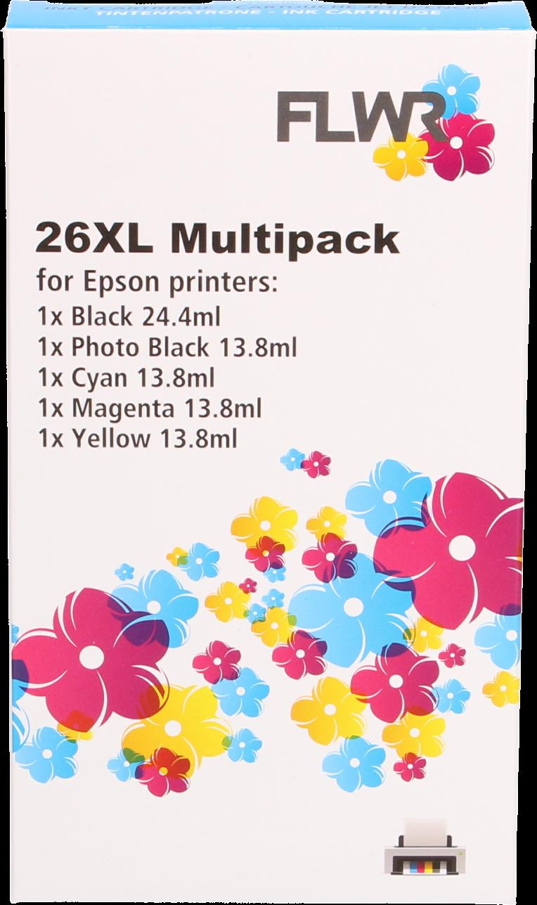 FLWR Epson 26XL Multipack 5-pack zwart en kleur