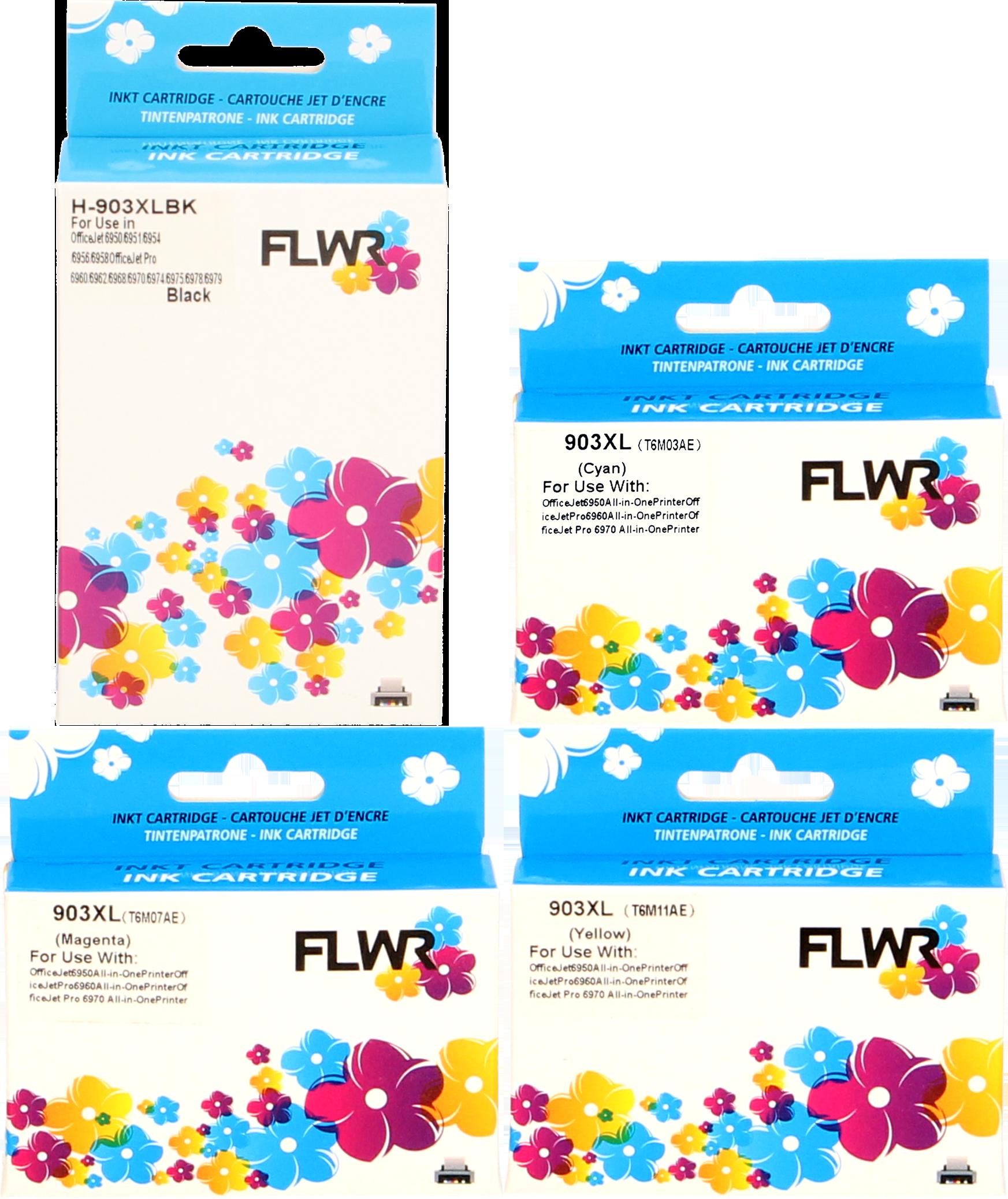 FLWR HP 903XL 4-pack zwart en kleur