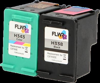FLWR HP 338 en 343 Multipack zwart en kleur