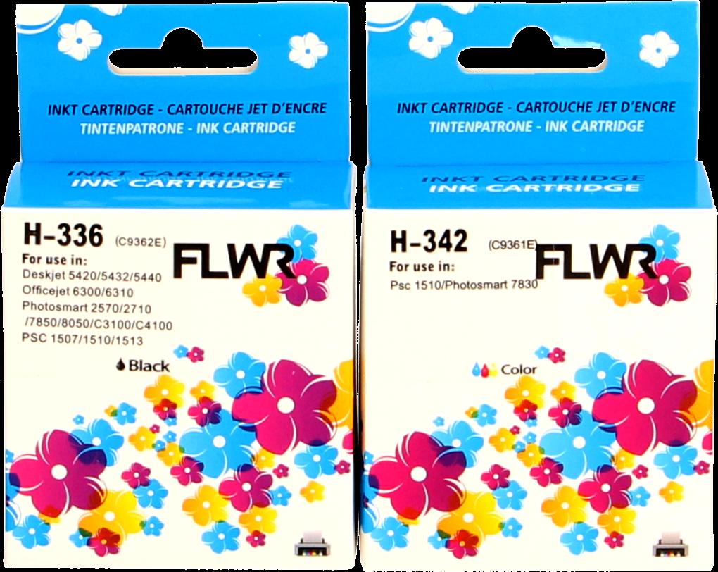FLWR HP 336 en 342 Multipack zwart en kleur
