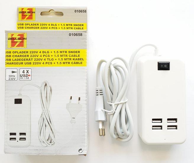 Bellson USB lader 4 poorten 220V 1,5 m wit