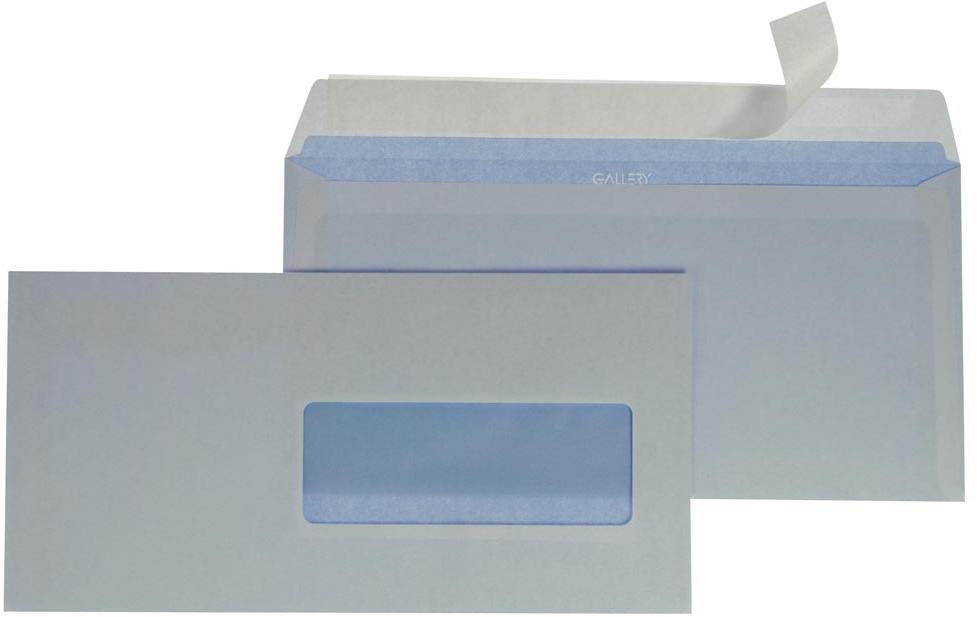 Gallery enveloppen 114 x 229 mm, met venster rechts, stripsluiting wit