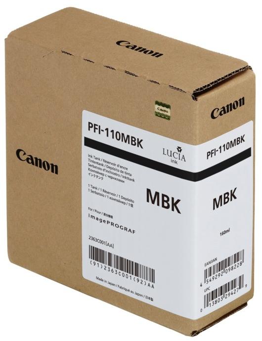 Canon PFI-110MBK inktfles mat zwart