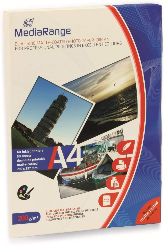 MediaRange Fotopapier Inkjet mat A4 130g 100 Pagina's wit