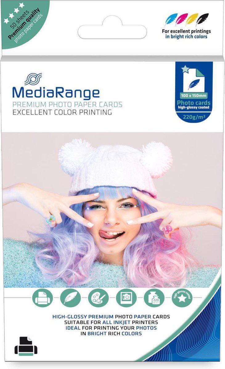 MediaRange Fotopapier Inkjet 10x15 220gr/m² 50 Pagina's wit