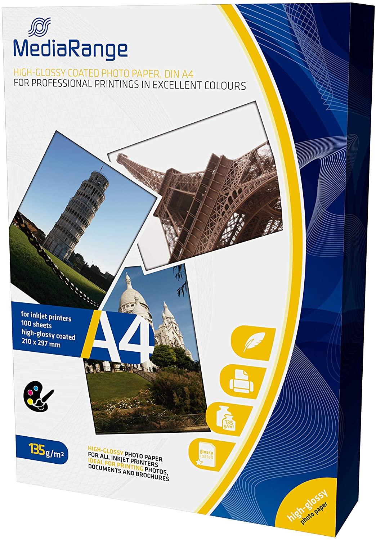 MediaRange Fotopapier Inkjet Hoog Glanzend 100 pagina's, A4 papier, 135g/m² wit