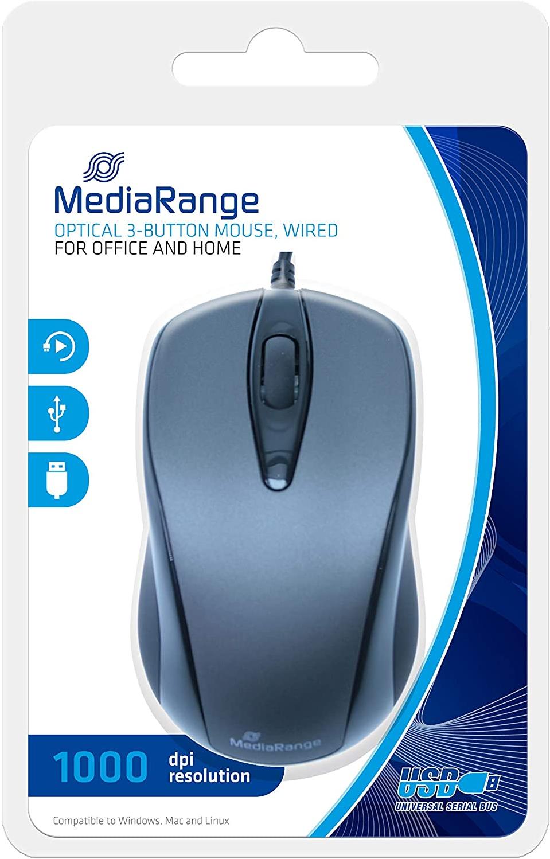 MediaRange Bedrade muis met 3 knoppen, Grijs