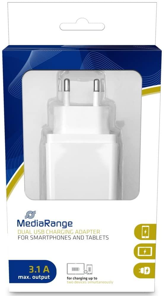 MediaRange Dubbele USB-lichtnetlader, 3,1A uitgangsvermogen wit