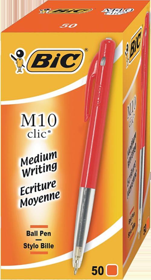 BIC Balpen Clic M10 50 stuks rood