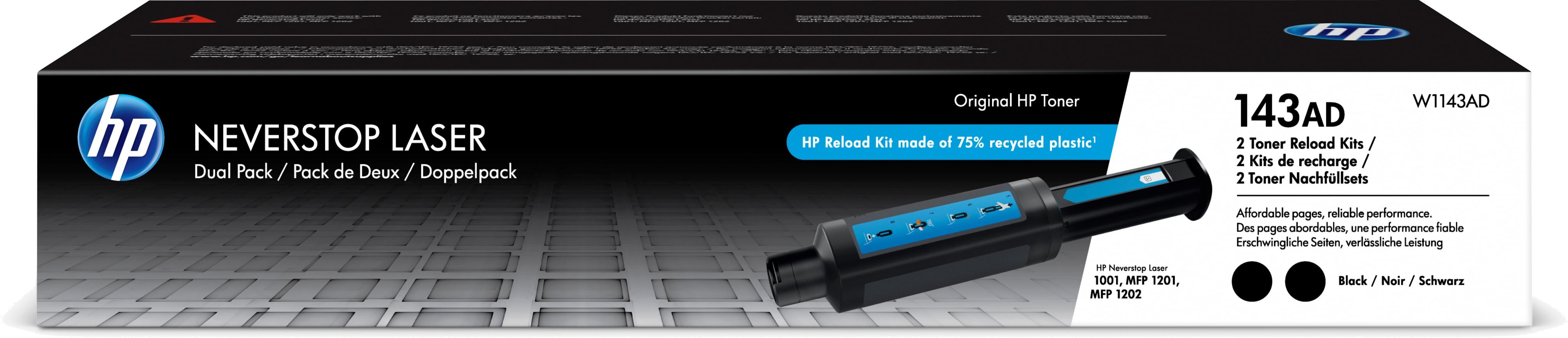 HP 143AD 2-pack zwart