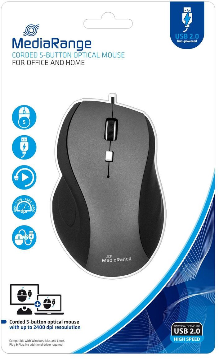 MediaRange MROS202 - Bedrade muis met 5 knoppen