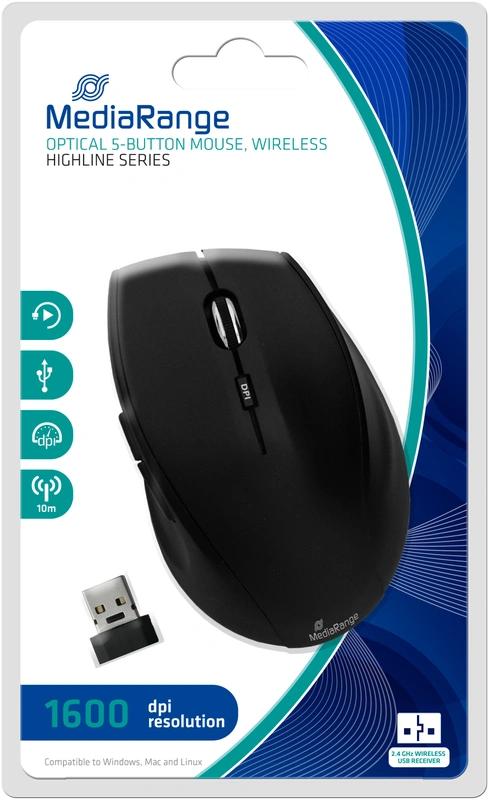 MediaRange MROS208 - Draadloze muis met 5 knoppen