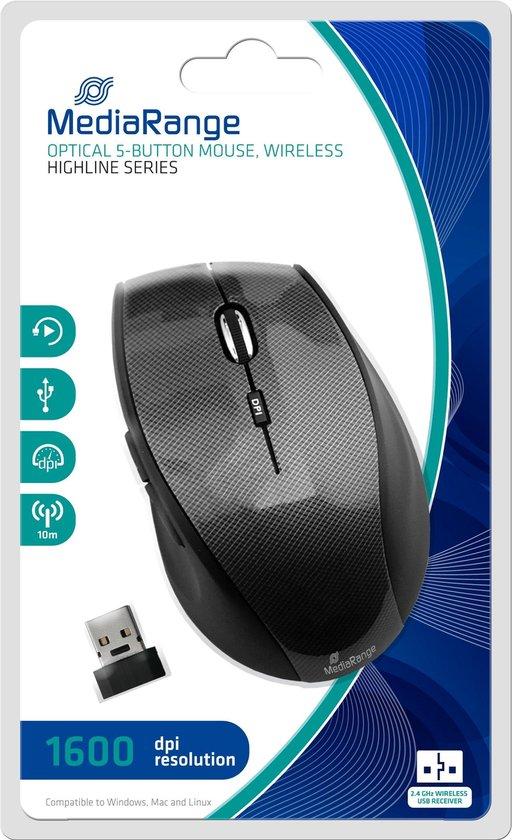 MediaRange Draadloze muis met 5 knoppen