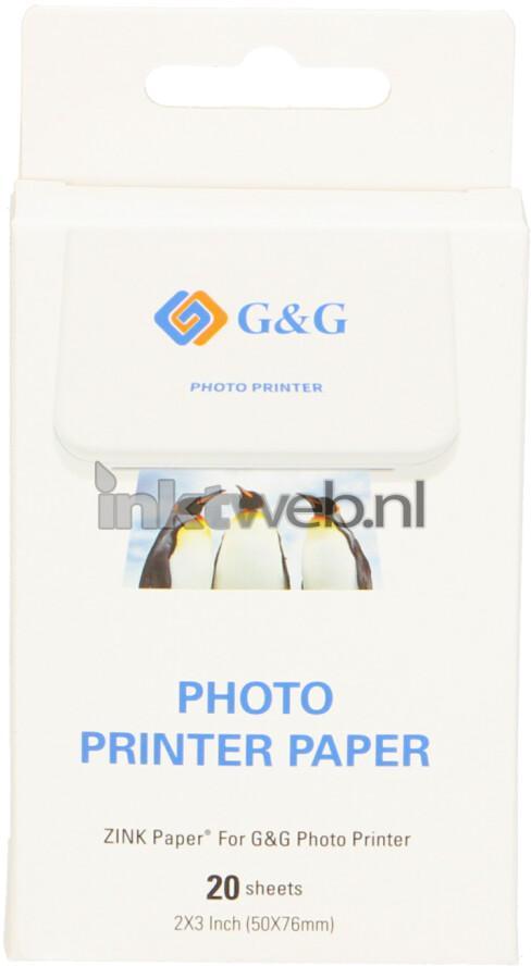 Huismerk G&G  Zink Plakbaar Instant Fotopapier (7.6 x 5cm) Glans  20 stuks