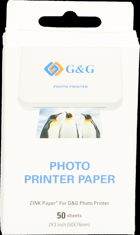 Huismerk G&G  Zink Plakbaar Instant Fotopapier (7.6 x 5cm) Glans  50 vellen