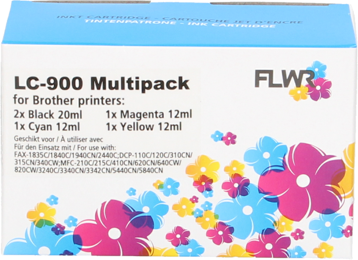 FLWR Brother LC-900 Multipack zwart en kleur