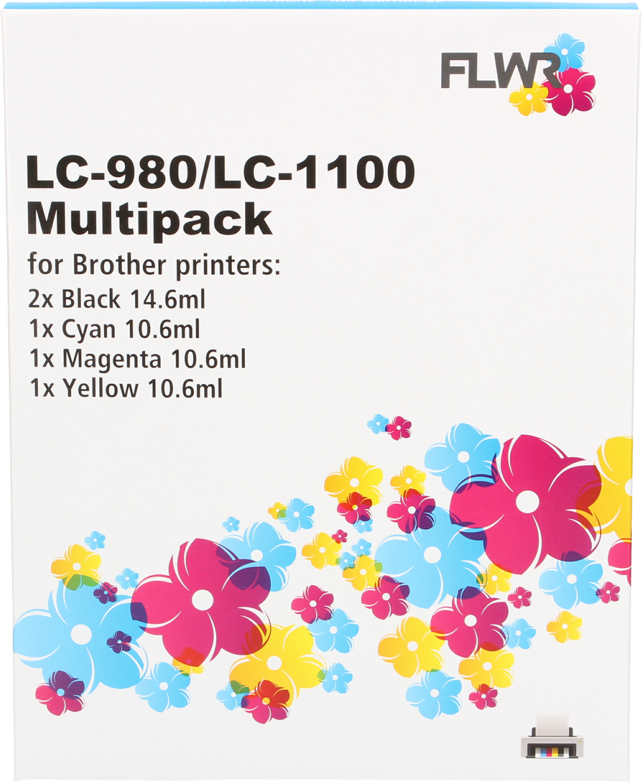 FLWR Brother LC-980 / LC-1100 Multipack zwart en kleur