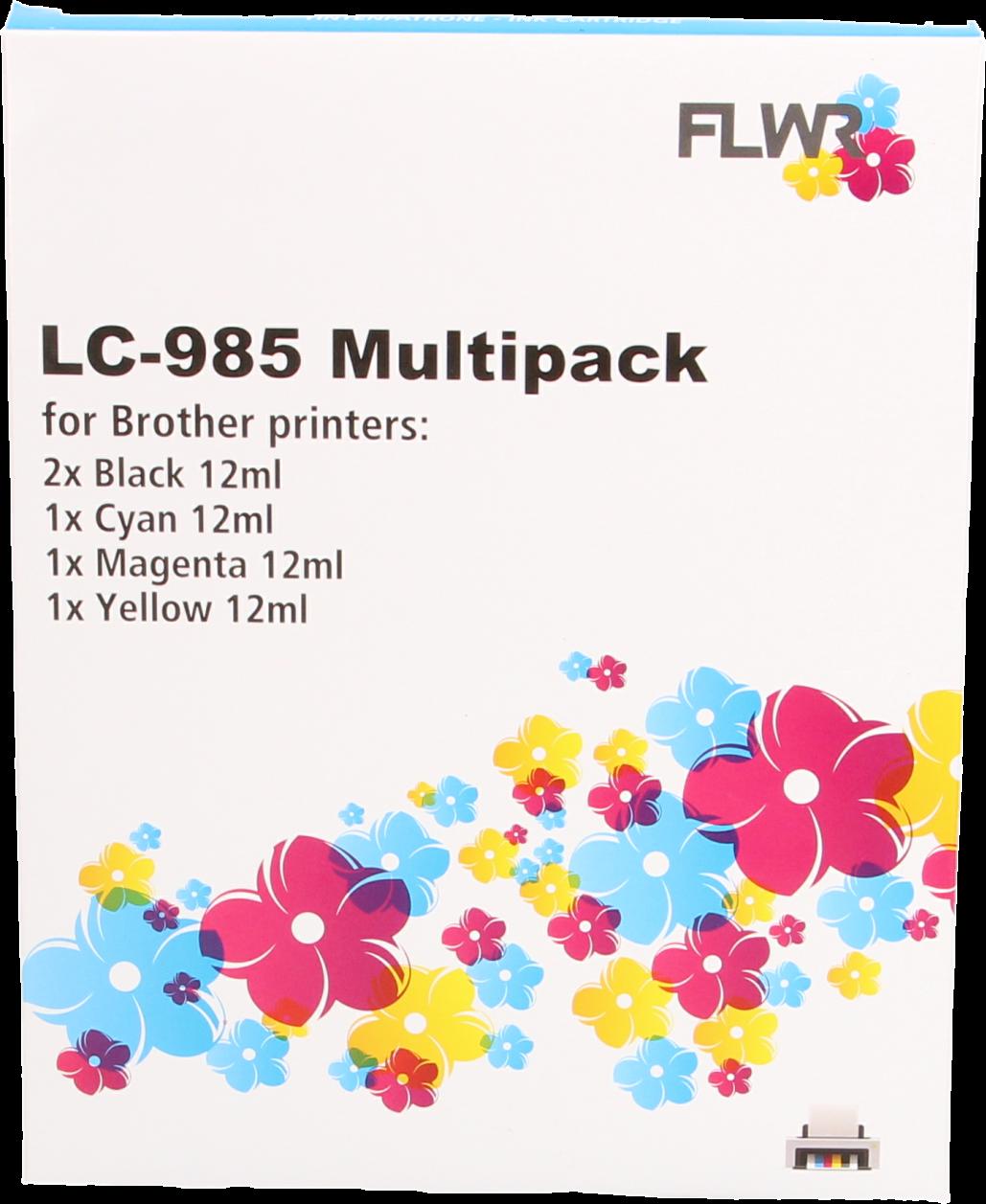 FLWR Brother LC-985 Multipack zwart en kleur