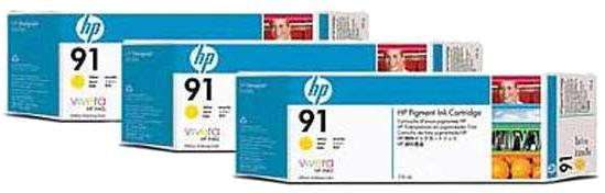 HP 91 3-pack geel