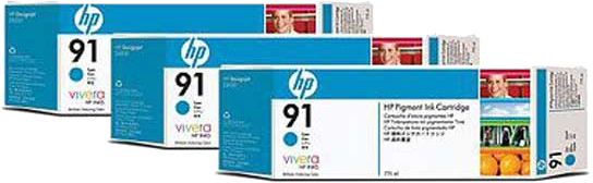 HP 91 3-pack cyaan